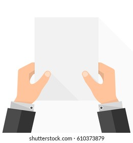 Empty white paper list in the hands. Vector illustration. Businessman in hands holding paper empty mock up.