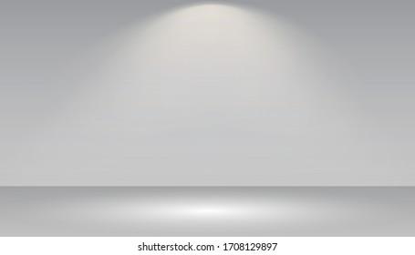Empty white photo studio interior background. Gallery Interior with shine illuminated spotlight. Realistic empty white wall – stock vector