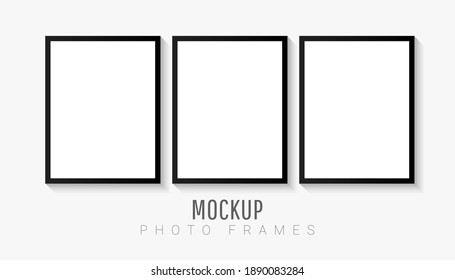 Empty white picture mockup template set with black frame isolated on white background. Vector illustration for your photos or memories. Wall art artwork.