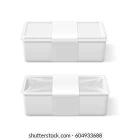 Empty white plastic food container. Packaging template vector