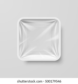 Empty White Plastic Food Square Container on Gray