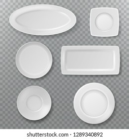 Empty white plate. Food plates top view topping dish bowl from above kitchen ceramic elements cooking porcelain isolated vector set