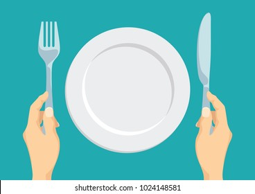 Empty white plate. Fork and knife in hand. Template. Vector illustration in flat style
