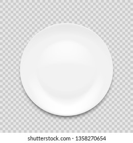 empty white plate isolated on white background. Vector illustration.