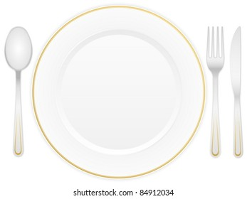 Empty white plate with knife, fork and spoon. Vector illustration.