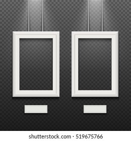 Empty white poster frames isolated on transparent checkered wall vector illustration