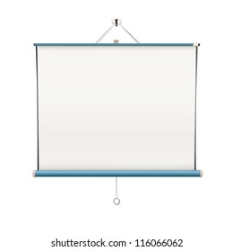 Empty white projector screen hanging from wall. isolated vector design.