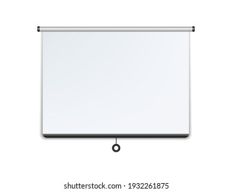 Empty white projector screen hanging from wall. isolated vector design.Vector illustration isolated on white background.Eps 10.