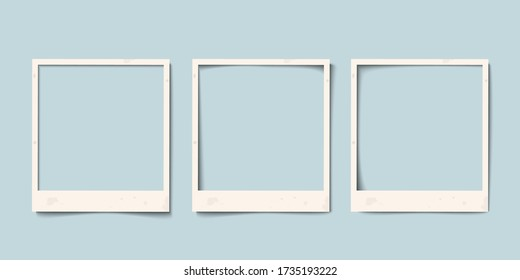 Empty white realistic paper old photo frame with different shadows. Retro vintage vector set templates,  layouts for nostalgia scrapbook