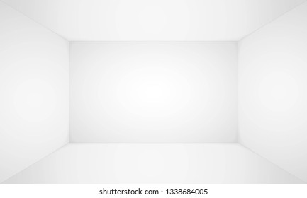 Empty white room. Empty blank room, wall and floor interior background. Abstract 3d interior. Template for you design. Vector illustration