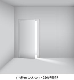 empty white room with opened door.  Vector Illustration