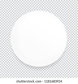 Empty white round plate on transparent background for your design. Vector Illustration EPS10