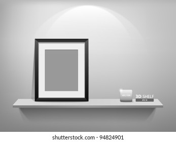 Empty white shelf with blank photo frame, vector illustration