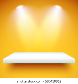 Empty white shelf hanging on a yellow wall illuminated by two spotlights. Vector background with boutique showcase or interior decoration furniture. Mockup ready for your design. Vector illustration.