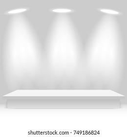 Empty white shelf hanging on a wall Vector illustration.