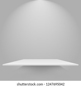 Empty white shelve hanging on a wall. Mockup for you design. Vector eps10