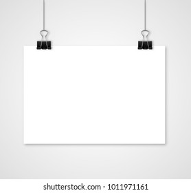 Empty white vector horizontal poster template. Poster mockup. Template of blank vector poster. Mock up hanging on wall. Frame for paper sheet. Stock vector.