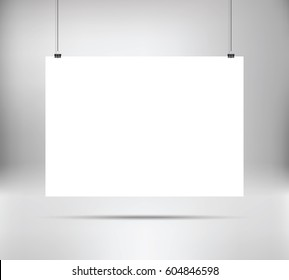 Empty white vector horizontal poster template. Poster mockup. Template of blank vector poster. Mock up hanging on wall. Frame for paper sheet. A4, A3, A2, A1. Stock vector.