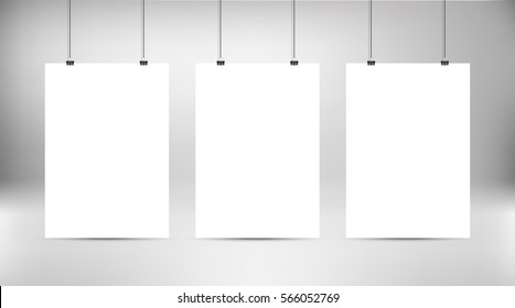 Empty white vector poster templates. Poster mock up. Template of three white blank vector posters. Set of mockups hanging on the wall. Frame for paper sheet. Stock vector.
