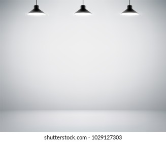 Empty white wall. Blank room is illuminated by lamps. Background for advertising indoors. Stock vector illustration.
