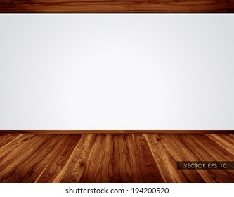 Empty white wall with massive timber ceiling construction and wooden floor - vector