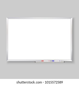 empty whiteboard with color markers, white board background