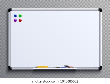 Empty whiteboard with marker pens and magnets. Business presentation office white board isolated vector mockup. Illustration of whiteboard clean with colored markers
