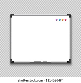 Empty whiteboard with marker,  sponge-eraser and magnets. Message board for student, businessman.
