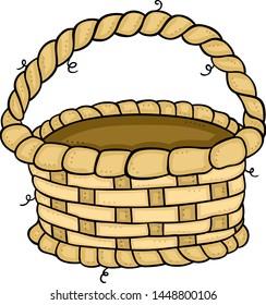 Empty wicker basket alone on a white background