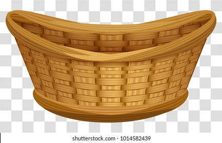 Empty wicker basket for flowers. Large birds nest for eggs. Isolated on transparent background vector cartoon illustration