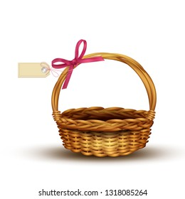 Empty wicker basket with pink bow and gift tag. Vector illustration isolated on white background. Element for design.