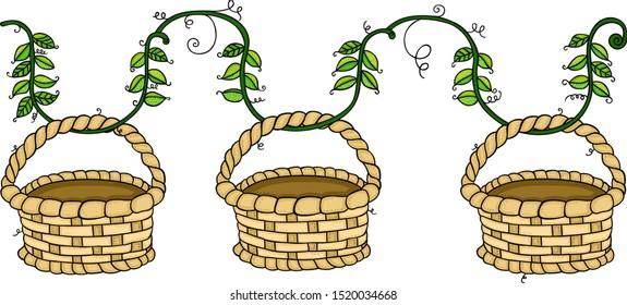 Empty wicker baskets hanging on branch leaves