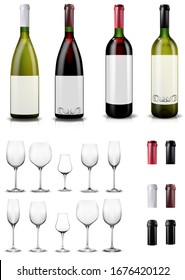 Empty wine glasses. Red and white wine bottles. Caps and sleeves, closing the stopper bottle.  Collection of realistic mockups. Vector illustration.