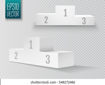 Empty winners podium with first, second and third place for award ceremony. Vector illustration