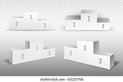 Empty winners podium with first, second and third place for award ceremony. Vector illustration. Isolated on transparent background.