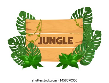 Empty wooden banner board with tropical leaves with space for text. Game wooden empty boards isolated jungle cartoon elements games gui interface vector illustration
