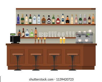 Empty wooden bar counter. Shelves with alcohol bottles. Flat vector isolated illustration on white background.