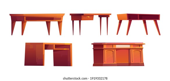 Empty wooden desks for work in office or home cabinet isolated on white background. Vector cartoon set of wood brown tables with drawers and shelves. Workspace furniture for job and study