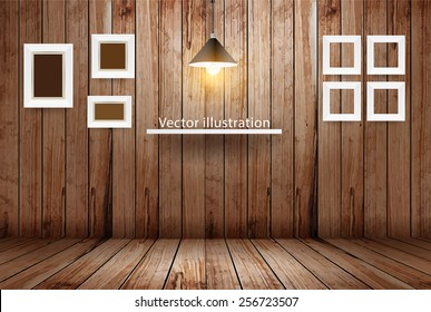 Empty wooden room, Vector illustration template design