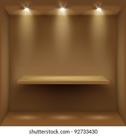 Empty wooden shelf in room, illuminated by searchlights. Part of set.  Vector interior.
