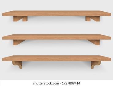 empty wooden shelf with wood mounting bracket isolated on white background, Vector Illustration