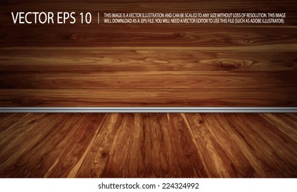 Empty wooden siding and floor with decorative white moldings - vector