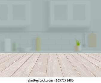 Empty wooden table or shelf in the kitchen. Textured backdrop. Vector illustration.