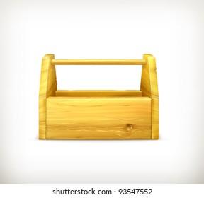 Empty wooden toolbox, 10eps