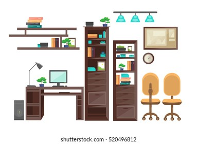 Empty Workplace Desk Workspace Office Interior No People Flat Vector Illustration
