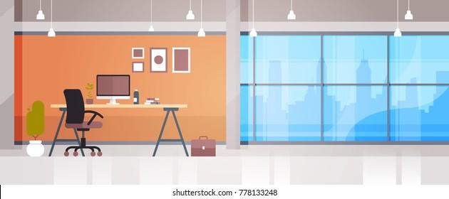 Empty Workplace Office Desk With Desktop Computer Workspace Interior Concept Flat Vector Illustration