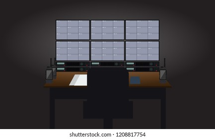 Empty Workplace security guard room. Tv sets showing surveillance cameras view. Flat color style Vector illustration