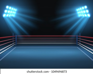 Empty wrestling sport arena. Boxing ring dramatic sports vector background. Sport competition ring for wrestling and boxing arena illustration