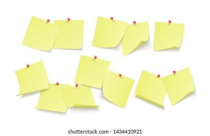 Empty yellow stickers with space for text or message stuck by clip to wall. reminder board. Vector illustration isolated on white background