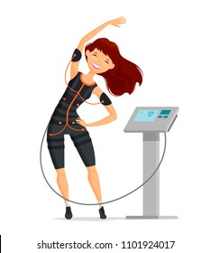 Ems training. Girl doing fitness exercise in the gym. Cartoon vector illustration